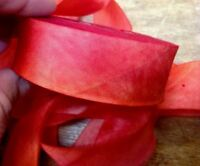 """SILK 1"""" RIBBON on the BIAS HANAH Made in USA 1yd Hand Dyed"""