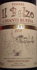 6 BOTTLES CHIANTI RUFINA DOCG 2011 RISERVA IL BALZO