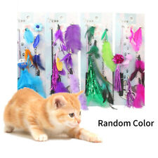 New listing Cat Toy Feather Teaser Wand Interactive Stick Kitten Pet Fun Wire Beads