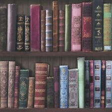 Book Shelf Multi Coloured Wallpaper