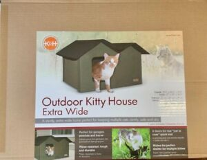 K&H Pet Products Outdoor Kitty House Extra-Wide Unheated Olive