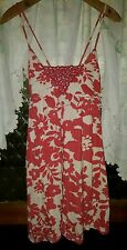 WOMENS Sz M cream & pink JUST JEANS floral dress LOVELY! CROSS-OVER BACK DESIGN!