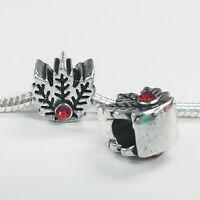 3 Beads - Red Flower Holly Leaf Christmas Silver European Charm Bead E1441