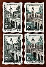 France 1957 8fr & 15fr Le Quesnoy 2 pairs MINT never hinged+Used SG 1334 - 1335