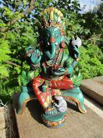 Fair Trade Hand Made Resin Sajaya Ganesh Ganesha Elephant Hindu Deity Statue
