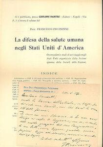 Biglietto autografo f. Piccininni presentazione Difesa salute umana negli USA