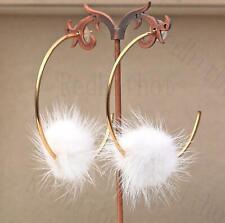"""18K Gold Filled 2.7"""" Earrings White Pompon Cross Hooklike Delicacy Ear Stud DS"""