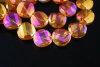 10pc 18mm Twist Discoid Faceted Glass Crystal Charm Loose Spacer Beads Rose Gold