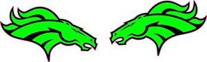 Denver Broncos Lime Green Mini Football Helmet Decals