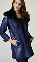 Dennis Basso Faux Leather Jacket with Removable Faux Fur Collar navy size S