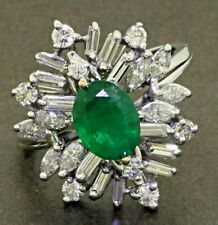2ct @look oval Emerald claster ring uk size R ; us 9