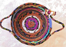 Handmade Cotton Fabric Coiled Basket Multi Color Bread Round Serving Gift Plate