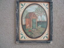 """Primitive Country Print **HIS** OUT HOUSE black frame 9""""x 11"""" FREE SHIPPING!"""
