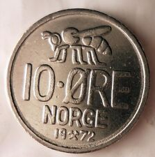 1972 NORWAY 10 ORE - HONEY BEE - Free Shipping - Norway Bin #3