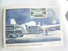 Carte postale JOURNEE DU TIMBRE 1957 La postale de nuit /aéropostale Gandon