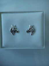 Sterling Silver Horse Studs Earrings Horses Head 7.8 mm approx