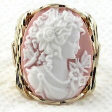 Grecian Goddess Butterfly Pink Cameo Ring 14K Rolled Gold Jewelry Resin Any Size