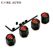 Metal 4*The Punisher Red Skull Car Wheel Valve Caps Air Dust Cover for A5 A6 A7