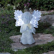 SOLAR POWERED CHERUB ANGEL LIGHT GARDEN LAWN WHITE LED ORNAMENT TABLE NEW