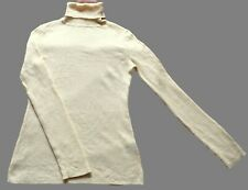 Womens Vintage Cream Stretchy Ribbed Polo / Roll Neck Jumper Retro Boho 6
