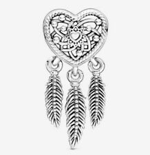 💞💞 Genuine 925 Sterling Silver Three Feathers Heart Dream Catcher Charm