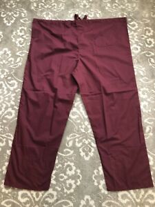 Lydia's Red Tag Scrub Pants Unisex Size 4X Burgundy Drawstring