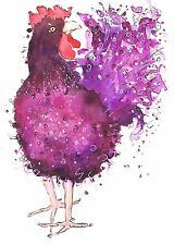 PURPLE FRIZZLE HEN PRINT FROM WATERCOLOUR PAINTING BY MOON HARES ART & PRINTS