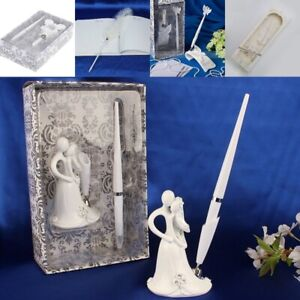 Wedding Signing Pen Set with Bride and Groom Holder Storage Box for Decoration