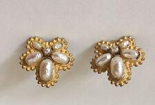 Vintage MIRIAM HASKELL Baroque Pearl EARRINGS clip on