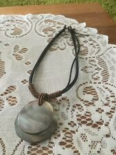 Vintage Faux mother of pearl Pendants With Lace Necklace 40 Cm Long
