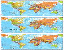 World Map ~ Edible Cake Image ~ 1/4 Sheet Designer Strips ~ D22338