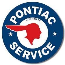 "Pontiac Service General Motors Tin Sign 12"" Round Dia."