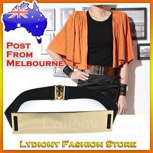 Fashion Celeb Style Red-carpet Gold Metallic Mirror Shiny Plate Metal Waist Belt