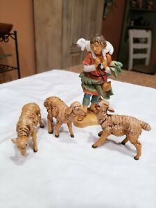 "1992 Fontanini Nativity 5"" Shepherd Boy Gabriel & 3 Sheep Set Excellent on All"