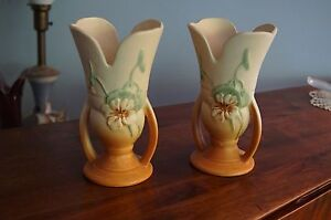 2 Vintage WELLER Nasturtium 2-handeleled split-side 8 1/4'  vases mint condition