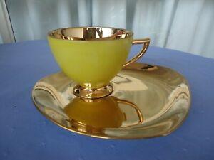 vintage retro 22k gold yellow tea cup & saucer set oblong caret karet harlequin
