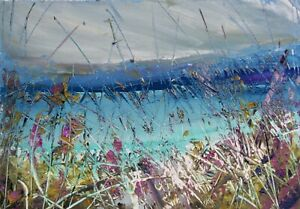 Coastal Grasses, Sea / Landscape Art. Original Acrylic Painting.