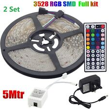 2 Set 5 Metres 300 Led RGB 3528 Light Strip Adhesive Window Shop Stair Cupboard