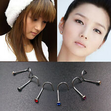 Valuable Mix Colors Rhinestone Nose Studs Screw Ring Bone Bar Body Piercing BH