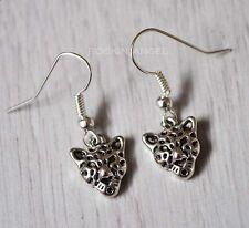 Ladies Girls Gift Wildlife Zoology Animal 925 Silver Plt Leopard Drop Earrings