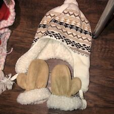 Baby Gap Cream Brown Tan Fleece Lined Hat 6 12 month Boy + Suede Mittens Artic