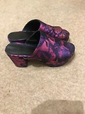 ASOS purple Floral Brocade Geisha Style Platform Open-Toed Mules Size 4