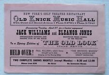 Rare Promotional Flyer For Old Knick Music Hall New York City Silent Films, Vaud