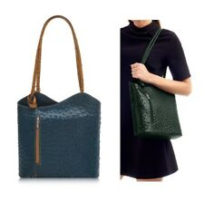 Ladies Handbag Navy / Tan Ostrich Effect Italian Leather Shoulder Bag Backpack
