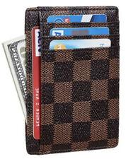 Luxury Brown Checkered Card Holder Minimalist Front Pocket Leather Wallet Men