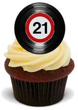 Novelty RETRO VINYL RECORD 21ST BIRTHDAY 12 STAND UP Edible Image Cake Toppers