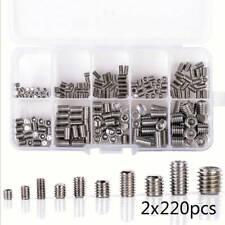 220X Stainless Steel Allen Head Socket Hex Grub Screw Assortment Point Cup Set