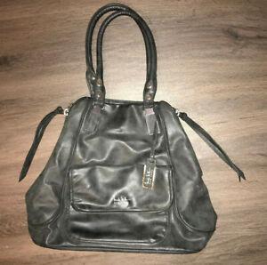 Nicole Miller Black Faux Leather Purse Handbag