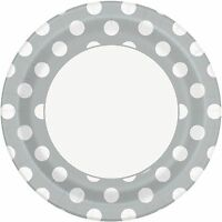 Silver & White Polka Dot Dots 23cm Paper Party Dinner Plates 1-48pk
