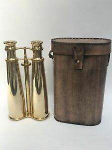 Solid brass binoculars 8 inches with leather case for gift
